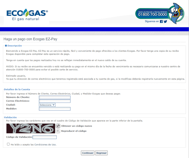 Hacer pago ECOGAS